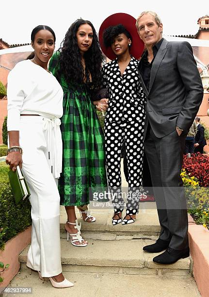 Recording artists Kelly Rowland guest Janelle Monae and Michael Bolton attend Roc Nation and Three Six Zero PreGRAMMY Brunch 2015 at Private...