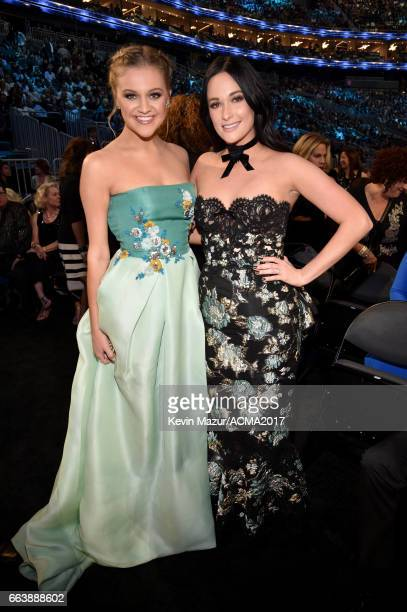 Recording artists Kelsea Ballerini and Kacey Musgraves attend the 52nd Academy Of Country Music Awards at TMobile Arena on April 2 2017 in Las Vegas...
