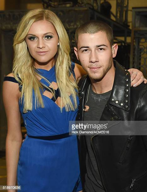 Recording artists Kelsea Ballerini and Nick Jonas attend the 51st Academy of Country Music Awards at MGM Grand Garden Arena on April 3 2016 in Las...