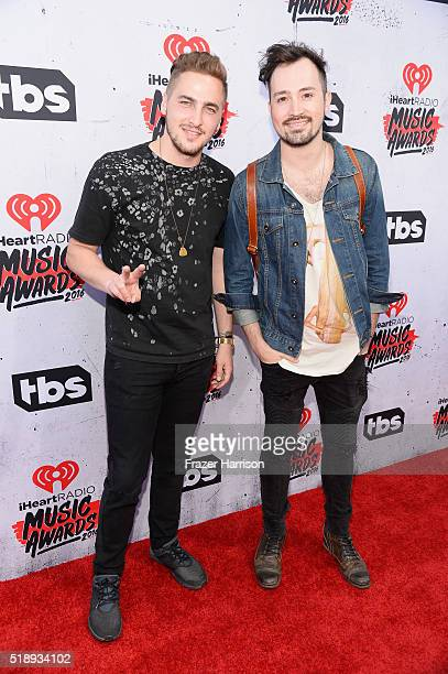 Recording artists Kendall Schmidt and Dustin Belt attend the iHeartRadio Music Awards at The Forum on April 3 2016 in Inglewood California
