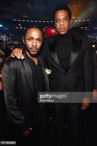 Recording artists Kendrick Lamar and Jay Z attend the 60th Annual GRAMMY Awards at Madison Square Garden on January 28 2018 in New York City