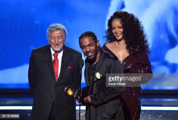 Recording artists Kendrick Lamar and Rihanna accept Best Rap/Sung Performance for 'Loyalty' from Tony Bennett onstage during the 60th Annual GRAMMY...