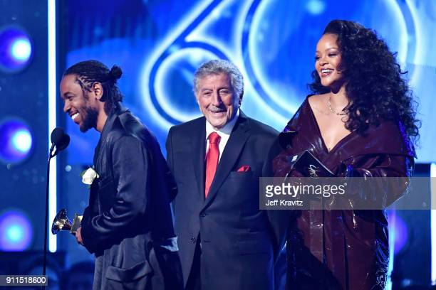 Recording artists Kendrick Lamar and Rihanna accept the award for Best Rap/Sung Performance from Tony Bennett onstage during the 60th Annual GRAMMY...