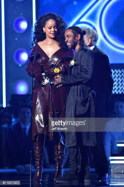 Recording artists Kendrick Lamar and Rihanna accept the award for Best Rap/Sung Performance onstage during the 60th Annual GRAMMY Awards at Madison...