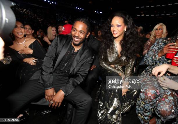 Recording artists Kendrick Lamar and Rihanna attend the 60th Annual GRAMMY Awards at Madison Square Garden on January 28 2018 in New York City