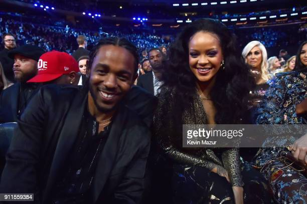 Recording artists Kendrick Lamar and Rihanna during the 60th Annual GRAMMY Awards at Madison Square Garden on January 28 2018 in New York City