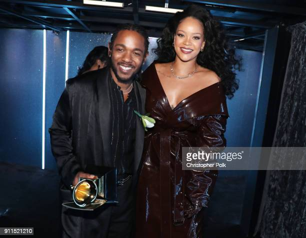 Recording artists Kendrick Lamar and Rihanna winners of Best Rap/Sung Performance for 'LOYALTY' pose during the 60th Annual GRAMMY Awards at Madison...