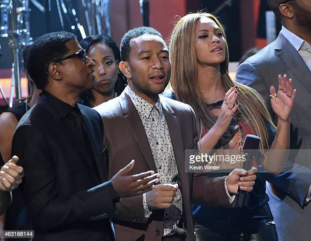 Recording artists Kenneth 'Babyface' Edmonds John Legend and Beyonce perform onstage during Stevie Wonder Songs In The Key Of Life An AllStar GRAMMY...