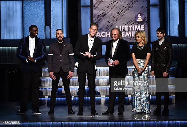 Recording artists Kevin Olusola Avi Kaplan Scott Hoying Barry Gibb Kirstie Maldonado and Mitch Grassi onstage during The 57th Annual GRAMMY Awards at...