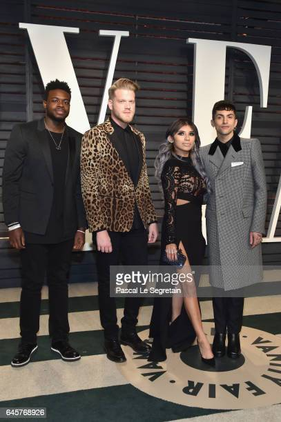 Recording artists Kevin Olusola Scott Hoying Kirstie Maldonadoand Mitch Grassi of music group Pentatonix attend the 2017 Vanity Fair Oscar Party...