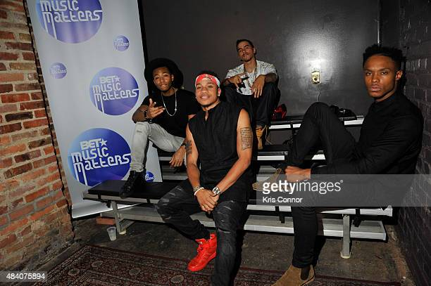 Recording artists Kevin Ross Rotimi Adrian Marcel and Avery Wilson pose for a photo during BET Music Matters Presents The Showcase Brought To You By...