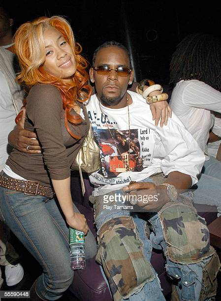 Recording artists Keyshia Cole and R Kelly attend Cole's and Avant's performance at the club Spirit September 14 2005 in New York City