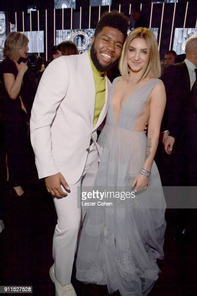 Recording artists Khalid and Julia Michaels attend the 60th Annual GRAMMY Awards at Madison Square Garden on January 28 2018 in New York City