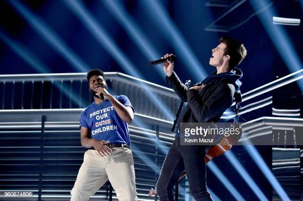 Recording artists Khalid and Shawn Mendes perform onstage at the 2018 Billboard Music Awards at MGM Grand Garden Arena on May 20 2018 in Las Vegas...