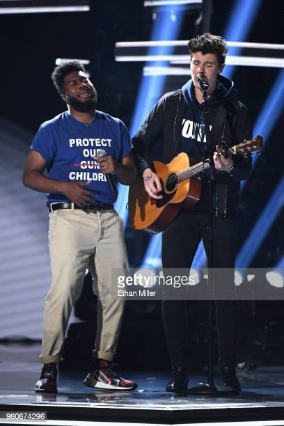 Khalid and Shawn Mendes perfrom onstage during the 2018 Billboard Music Awards at MGM Grand Garden Arena on May 20 2018 in Las Vegas Nevada