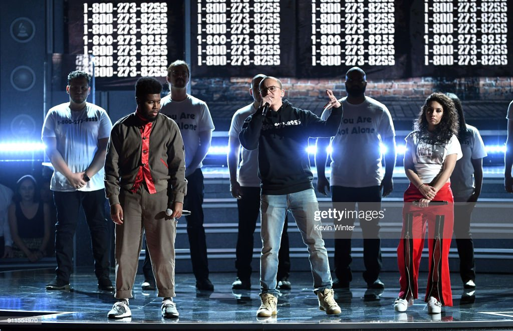 Recording artists Khalid, Logic and Alessia Cara perform onstage during the 60th Annual GRAMMY Awards at Madison Square Garden on January 28, 2018 in New York City.