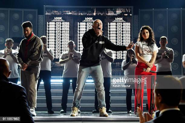 Recording artists Khalid Logic and Alessia Cara perform onstage during the 60th Annual GRAMMY Awards at Madison Square Garden on January 28 2018 in...