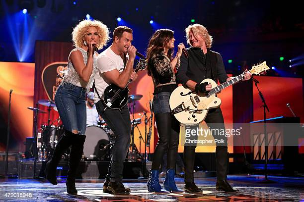 Recording artists Kimberly Schlapman Jimi Westbrook Karen Fairchild and Phillip Sweet of Little Big Town perform onstage during the 2015 iHeartRadio...