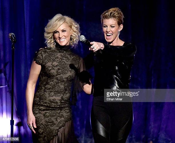 Recording artists Kimberly Schlapman of Little Big Town and Faith Hill perform onstage during the 2015 Billboard Music Awards at MGM Grand Garden...