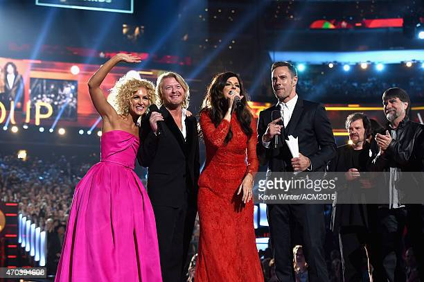Recording artists Kimberly Schlapman Phillip Sweet Karen Fairchild and Jimi Westbrook of music group Little Big Town accept the Vocal Group of the...