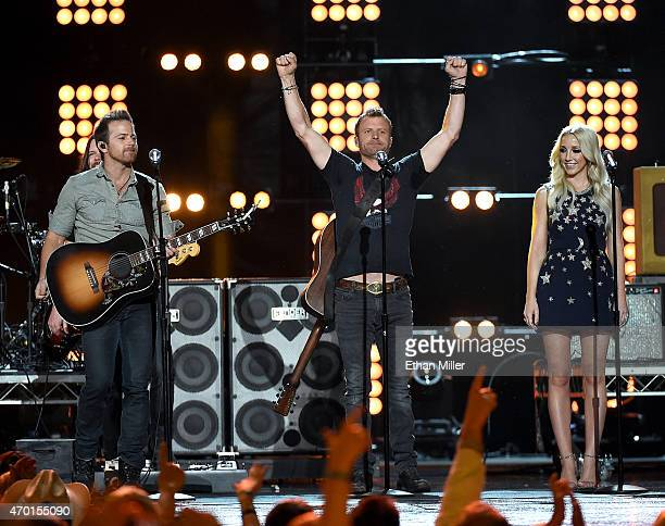 Recording artists Kip Moore Dierks Bentley and Ashley Monroe perform onstage during ACM Presents Superstar Duets at Globe Life Park in Arlington on...