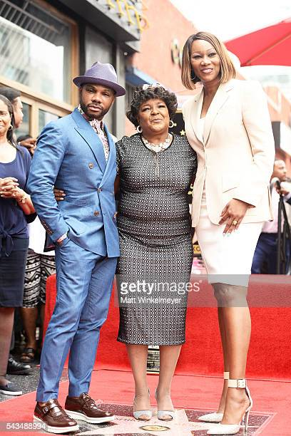 Recording artists Kirk Franklin Shirley Caesar and Yolanda Adams attend a ceremony honoring Shirley Caesar with a Star on The Hollywood Walk of Fame...