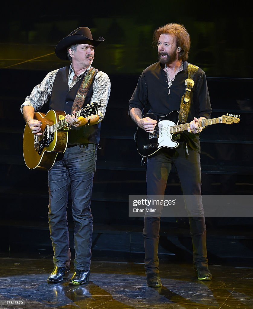 Recording artists Kix Brooks (L) and Ronnie Dunn perform during the opening weekend of their residency 'Reba, Brooks & Dunn: Together in Vegas' with Reba McEntire (not pictured) at The Colosseum at Caesars Palace on June 19, 2015 in Las Vegas, Nevada.
