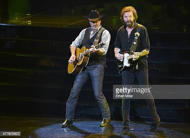 Recording artists Kix Brooks and Ronnie Dunn perform during the opening weekend of their residency Reba Brooks Dunn Together in Vegas with Reba...