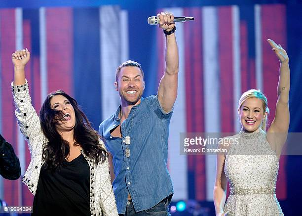 Recording artists Kree Harrison Ace Young and Kellie Pickler perform onstage during FOX's 'American Idol' Finale For The Farewell Season at Dolby...