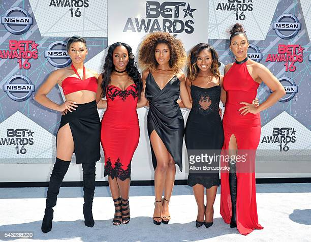 Recording artists Kristal Lyndriette Ashly Williams Shyann Roberts Brienna DeVlugt and Gabby Carreiro of June's Diary attend the 2016 BET Awards at...
