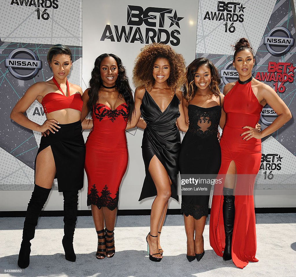 Recording artists Kristal Lyndriette, Ashly Williams, Shyann Roberts, Brienna DeVlugt and Gabby Carreiro of June's Diary attend the 2016 BET Awards at Microsoft Theater on June 26, 2016 in Los Angeles, California.