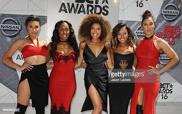 Recording artists Kristal Lyndriette, Ashly Williams, Shyann Roberts, Brienna DeVlugt and Gabby Carreiro of June's Diary attend the 2016 BET Awards...