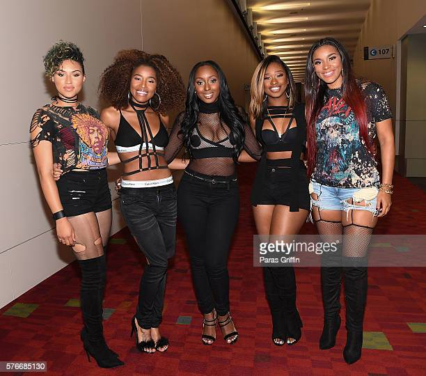 Recording artists Kristal Lyndriette, Shyann Roberts, Ashly Williams, Brienna DeVlugt and Gabby Carreiro of June's Diary attend V-103 Car & Bike Show...