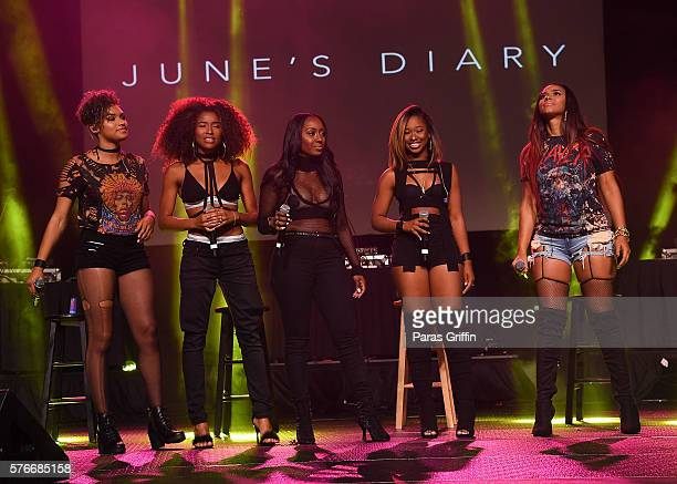Recording artists Kristal Lyndriette, Shyann Roberts, Ashly Williams, Brienna DeVlugt and Gabby Carreiro of June's Diary performs onstage at V-103...