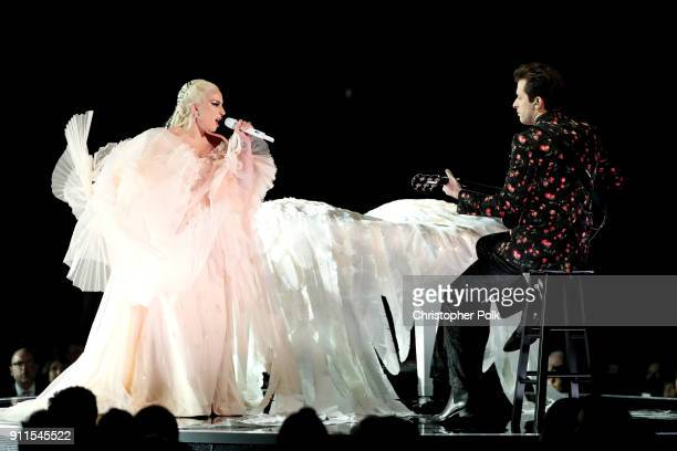 Recording artists Lady Gaga and Mark Ronson perform onstage during the 60th Annual GRAMMY Awards at Madison Square Garden on January 28 2018 in New...
