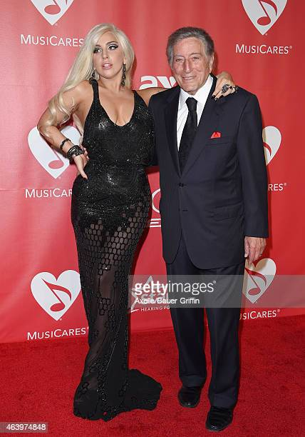 Recording artists Lady Gaga and Tony Bennett arrive at the 2015 MusiCares Person of The Year honoring Bob Dylan at Los Angeles Convention Center on...