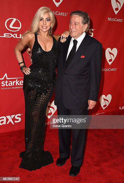 Recording artists Lady Gaga and Tony Bennett attend the 25th anniversary MusiCares 2015 Person Of The Year Gala honoring Bob Dylan at the Los Angeles...