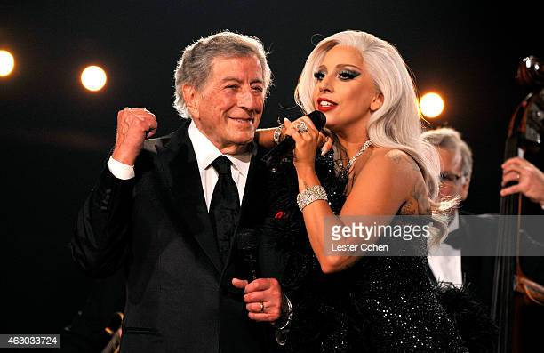 Recording artists Lady Gaga and Tony Bennett perform onstage during The 57th Annual GRAMMY Awards at the STAPLES Center on February 8 2015 in Los...