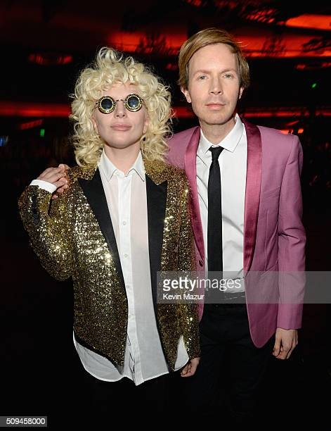 Recording artists Lady Gaga in Saint Laurent by Hedi Slimane and Beck attend Saint Laurent at the Palladium on February 10 2016 in Los Angeles...