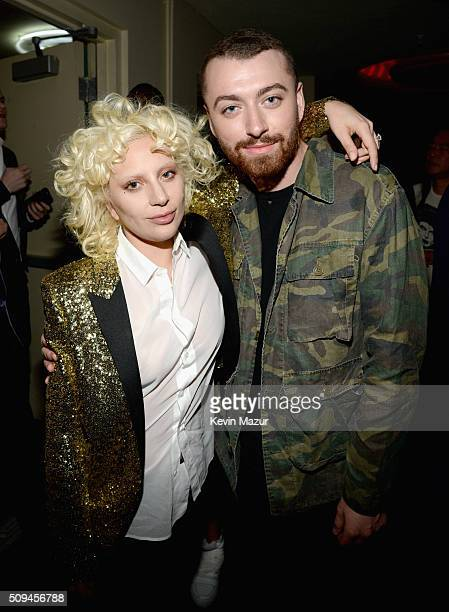 Recording artists Lady Gaga , in Saint Laurent by Hedi Slimane, and Sam Smith attend Saint Laurent at the Palladium on February 10, 2016 in Los...