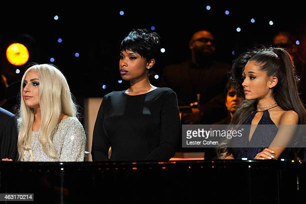 Recording artists Lady Gaga Jennifer Hudson and singer Ariana Grande perform onstage during Stevie Wonder Songs In The Key Of Life An AllStar GRAMMY...