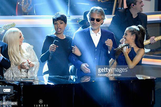 Recording artists Lady Gaga Jennifer Hudson Andrea Bocelli and Ariana Grande perform onstage during Stevie Wonder Songs In The Key Of Life An AllStar...
