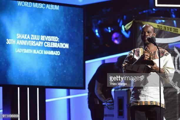 Recording artists Ladysmith Black Mambazo winners of Best World Music Album for 'Shaka Zulu Revisited 30th Anniversary Celebration' accept the award...