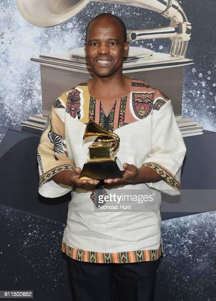 Recording artists Ladysmith Black Mambazo winners of Best World Music Album for 'Shaka Zulu Revisited 30th Anniversary Celebration' poses backstage...