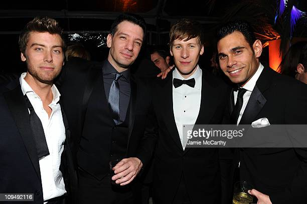 Recording artists Lance Bass and JC Chavez actor Dustin Lance Black and Eric Podwall attend the 19th Annual Elton John AIDS Foundation Academy Awards...