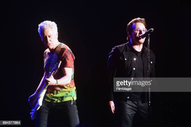 Recording artists Larry Adam Clayton and Bono of U2 perform onstage at What Stage during Day 2 of the 2017 Bonnaroo Arts And Music Festival on June 9...