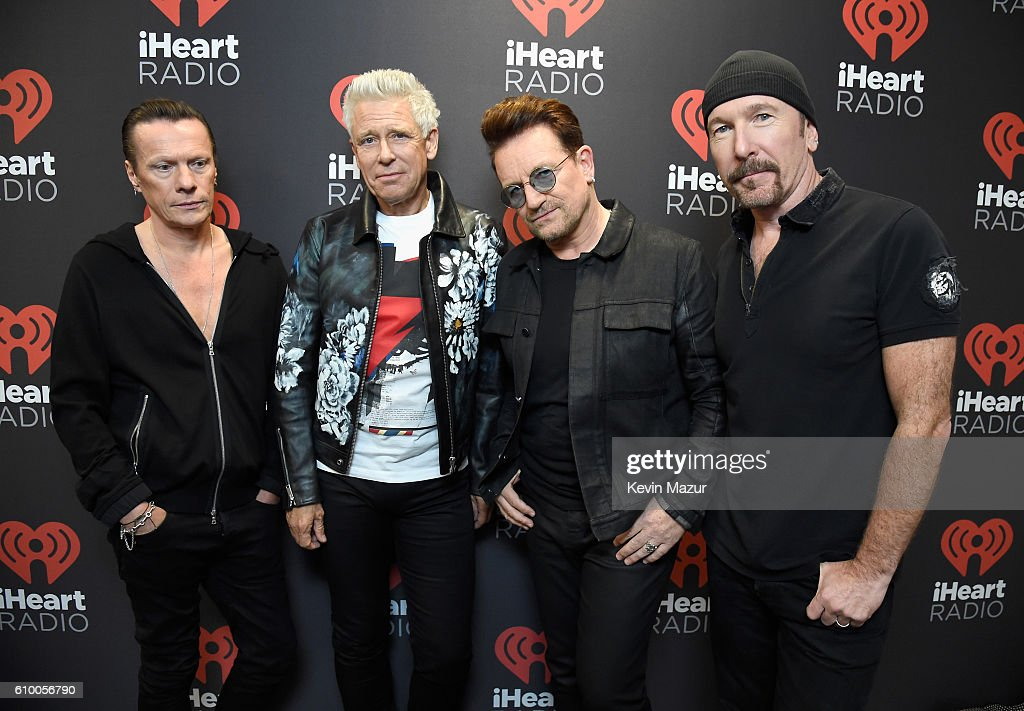 Recording artists Larry Mullen Jr., Adam Clayton, Bono, and The Edge of music group U2 pose at the 2016 iHeartRadio Music Festival at T-Mobile Arena on September 23, 2016 in Las Vegas, Nevada.