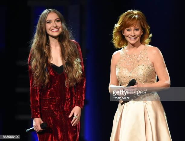 Recording artists Lauren Daigle and Reba McEntire perform onstage during the 52nd Academy of Country Music Awards at TMobile Arena on April 2 2017 in...