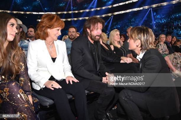 Recording artists Lauren Daigle Reba McEntire Ronnie Dunn and Keith Urban attend the 52nd Academy Of Country Music Awards at TMobile Arena on April 2...