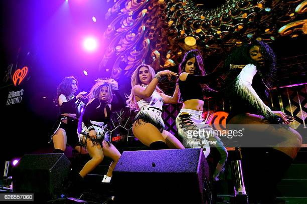 Recording artists Lauren Jauregui Ally Brooke Dinah Jane Hansen Camila Cabello and Normani Hamilton of music group Fifth Harmony perform onstage at...